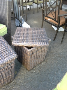Outdoor PVC Wicker Storage Basket with Lid