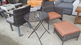 Outdoor Black Metal Folding Bistro Table (blemish)