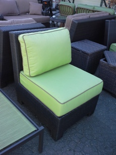 Outdoor PVC Wicker Armless Chair with Lime Cushions