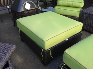 Outdoor PVC Wicker Ottoman with Lime Cushions