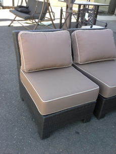 Outdoor PVC Wicker Armless Chair with Tan Cushions