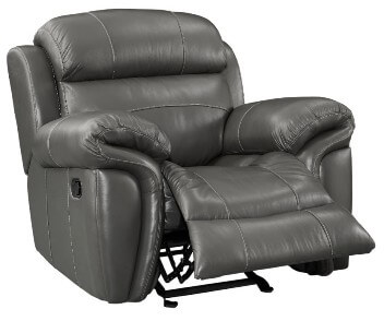 New Classic Paloma Grey Leather Glider Recliner