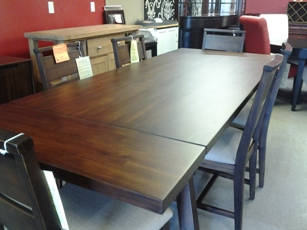 Portland Espresso Finish Dining Set with 6 Chairs