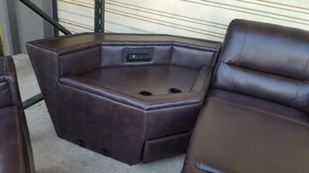 Homelegance Dark Brown Gel Leather Console Wedge with USB Ports, Plug Ins & Cupholders