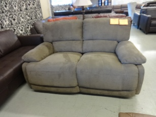 ManWah Light Brown Microsuede Power Reclining Loveseat with Waterfall Back Cushions