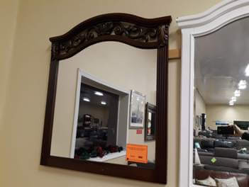 Cherry Finish Mirror with Arched Top & Scrolling Iron Accents