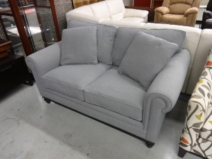 Jonathan Louis Martha Stewart Light Silver Loveseat with Down-Wrapped Cushions