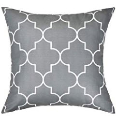 Charcoal Throw Pillows with White Geometric Accents  (set of 2)