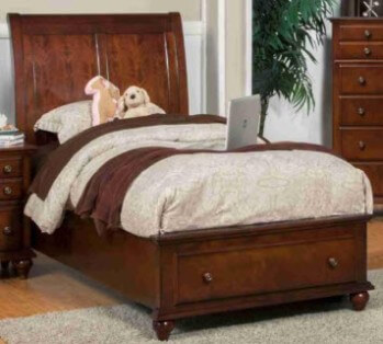 New Classic Spring Creek Cherry Finish Twin Platform Storage Bed