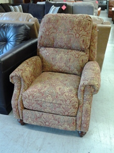 Synergy Lawrence Red & Gold Tapestry Wingback Recliner