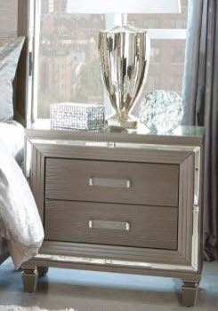 Homelegance Glamorous Charcoal Nightstand with Mirrored Accents
