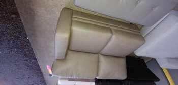Chateau Dax Taupe Leather One-Arm Loveseat