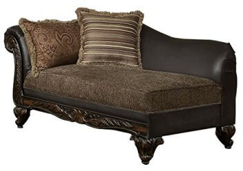 Homelegance Thibodaux Chaise with Carved Wood Accents