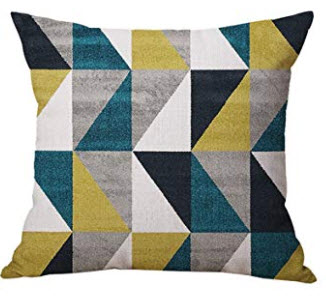 Dark Teal, Black, Silver, White & Lime Green Triangles Throw Pillows (set of 2)