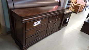 Homelegance Cherry 6-Drawer Dresser with Carved Trim Accents & Hidden Drawers