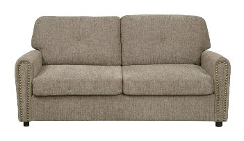 Emerald Light Brown Tweed Queen Sleeper Sofa with 2 Throw Pillows