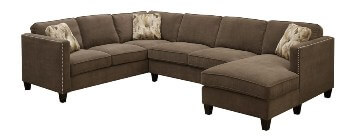 Emerald Focus Chocolate Tweed 3-Piece Sectional with Chaise