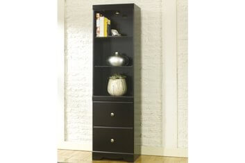Ashley Black Lighted Bookcase Cabinet