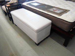 Milano White Leatherette Storage Bench
