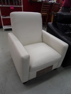 Natuzzi Emilia White Leather Recliner