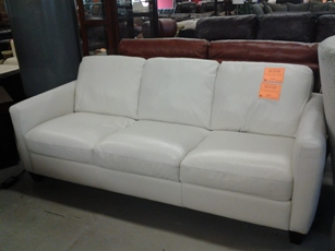 Natuzzi Emilia White Italian Leather Sofa