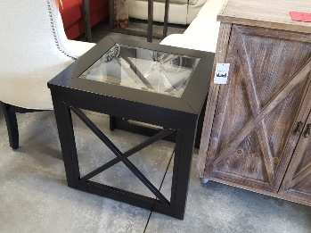 Homelegance Dark Cappuccino End Table with Glass Top & X Side Accents