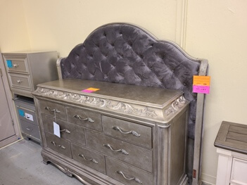 Pulaski Zarina Silver King Headboard with Tufted Accents (1 button missing)